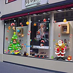LLLDB Christmas Wall Paper Shop Front Windows Posters Decorations Christmas Tree Gift Elderly Hanging Xl9020Ab Ball by Christmas decorations LLLDB