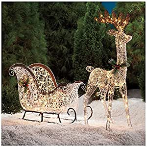 Pre lit lighted white vine deer 2 piece for Pre lit outdoor decorations