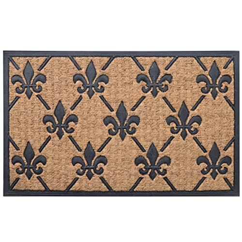 Milliard 39 fleur de lis 39 eco friendly decorative coco coir outdoor entrance doormat - Fleur de lis doormat ...