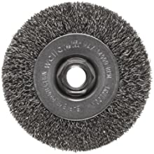 "Weiler Trulock Narrow Face Wire Wheel Brush, Threaded Hole, Steel, Crimped Wire, 4"" Diameter, 0.014"" Wire Diameter, 5/8-11"" Arbor, 7/8"" Bristle Length, 1/2"" Brush Face Width, 14000 rpm"
