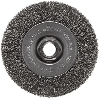 Weiler Trulock Narrow Face Wire Wheel Brush, Threaded Hole, Steel, Crimped Wire