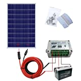 ECO-WORTHY 100 Watts Solar Panel Kit with Solar Cable Adaptor,15A PWM Charge Controller, Z Mounting Brackets, 100Ah AGM SLA Deep Cycle Group Battery