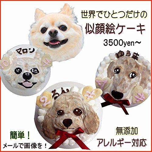 似顔絵ケーキ(ササミor馬肉or鮭)犬、ペット用/無添加、安心 (ササミ入4号サイズ(12㎝)1頭書)