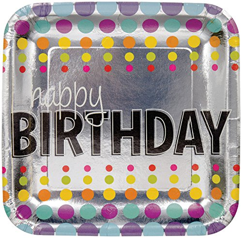 "Creative Converting 8 Count Square Foil Birthday Pop! Dinner Plates, 9"", Multicolor"