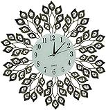Lulu Decor, Decorative Leaf Metal Wall Clock, Glass Dial 9 (Antique Gold)