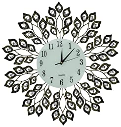 Lulu Decor, Decorative Leaf Metal Wall Clock, Glass Dial 9 (Antique)