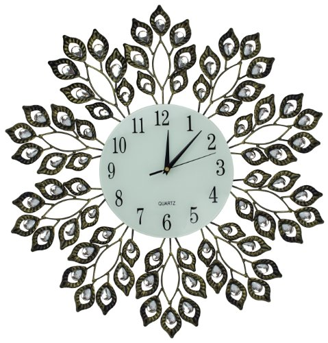 Lulu Decor, Decorative Leaf Metal Wall Clock, Glass Dial 9 (Antique Gold)
