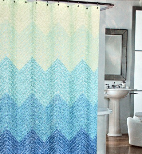 Cynthia Rowley Aqua Blue Mosaic Dots Chevron Cotton Fabric Shower ...