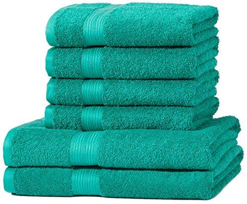 AmazonBasics - Set di 2 asciugamani da bagno e 4 asciugamani per le mani che non sbiadiscono, colore Verde Turchese
