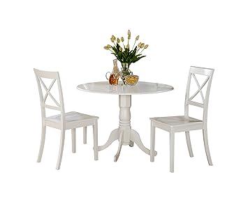 East West Furniture DLBO3-WHI-W 3-Piece Kitchen Table Set, Linen White Finish