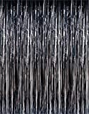 1 X 3 x 8 Black Tinsel Foil Fringe Door Window Curtain Party Decoration