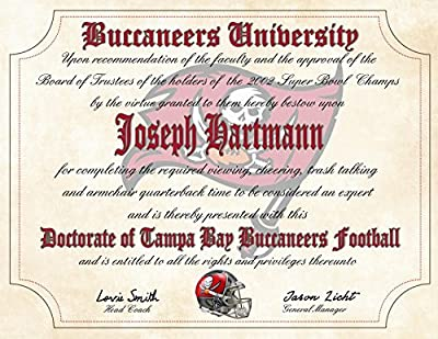 "Tampa Bay Buccaneers Ultimate Fan Personalized Diploma - Perfect Gift - 8.5"" x 11"" Parchment Paper"