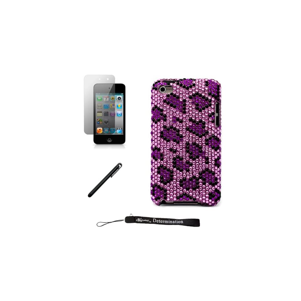 Purple Leopard Luxury Design Premium Crystal Shiny Rhinestone Carrying Cover Protective Case for New Apple iPod Touch 4 ( 4th Generation 8GB, 16GB, 32GB ) + Includes a Anti Glare Screen Protector + Includes a Black Graphic Designer Stylus Pen