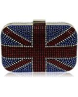Damen Union Jack Box rot weiß blau Clutch Abendtasche - KCMODE