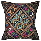 Lalhaveli Bright Stunning Floral Design Embroidered Mirror Work Cotton Single Cushion Cover 16 Inches - B00MY0ZNZQ