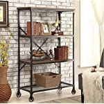 Rutledge Antique Grey 1 Door Pattern Front Tall 3 Shelf Bookcase