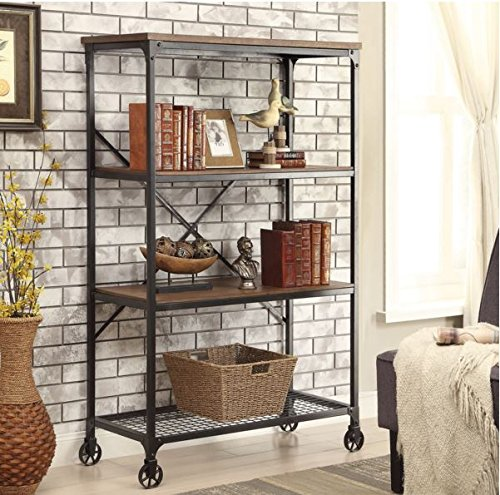 Rolling Bookcase With Fixed Shelves Featuring A Rustic Industrial Factory Or Urban Look