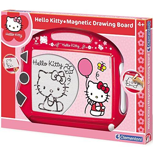 Clementoni Hello Kitty Zaubertafel mit Griff und Stift, ca. 48x34,5 cm, rosa-rot // Magische Maltafel Malen Tafel Zaubermaltafel Magnettafel