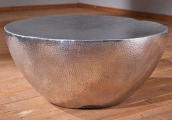 Table basse ronde en aluminium argenté brillant - Dim : L 70 x H 30 x P 70 cm -PEGANE-