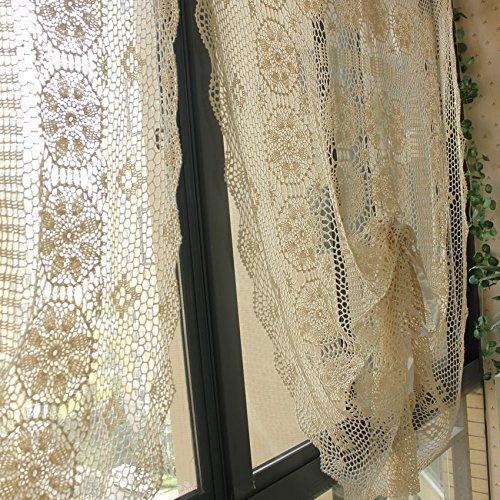 Lace Window Curtain French Crochet Window Panels Pair Cotton Crochet Curtains 49 Inch By 66