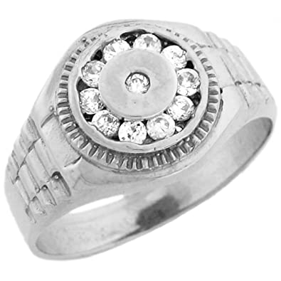 9ct White Gold Round Mens CZ Ring With Halo And Engraved Details