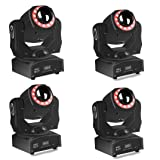 (4 pack) Moving Head Light spot led stage lighting 4-in-1 with 15 magical gobos Patterns Wash Light 85W By Sound Activated DMX 512 Control 14/16Ch For Wedding Festival Concert Dj Disco Party Show (Tamaño: spot 4pack)