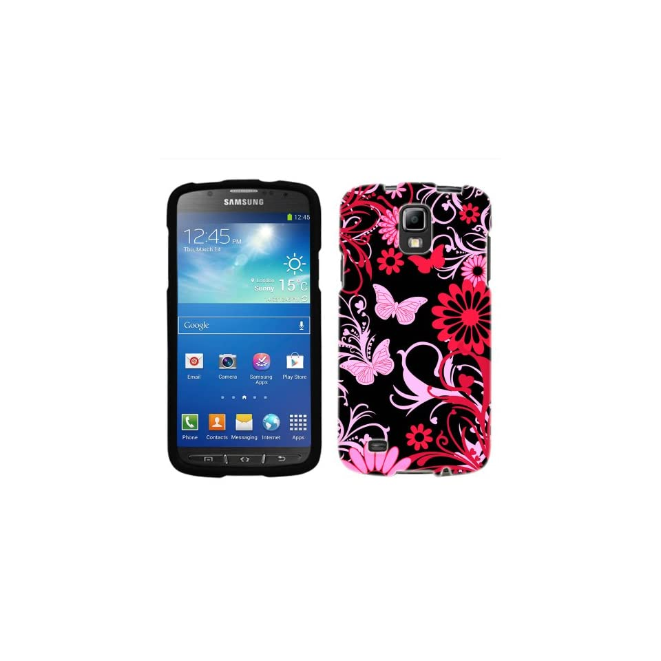 Samsung Galaxy S4 Active Pink Butterfly on Black Case
