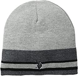 U.S. Polo Assn. Men's Reversible Striped Beanie, Charcoal Heather, One Size
