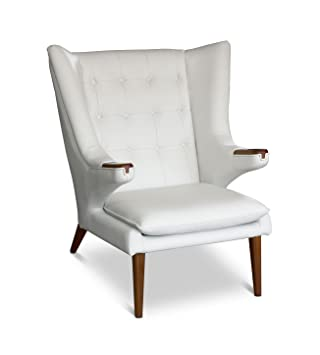 Cigar Poltrona Lounge e braccioli Poltrona in pelle. Figura in Pelle Bianco con Wall in legno di noce.