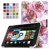 Fire HD 6 2014 ケース - ATiC Amazon Kindle Fire HD 6 2014タブレット専用開閉式三つ折薄型スタンドケース。Floral PURPLE ランキングお取り寄せ