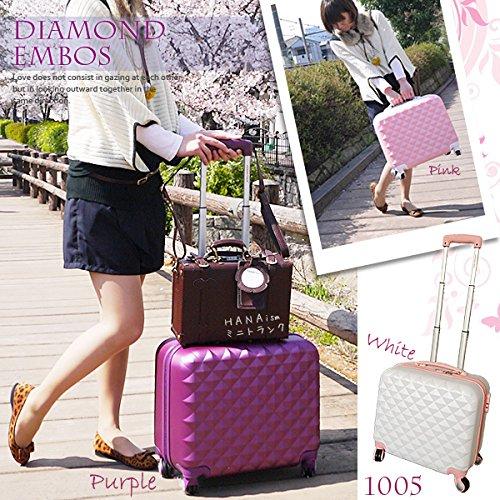 【DIAMOND・EMBOS】スーツケース Sサイズ 4輪/ホワイト色[cha10-05]超軽量 ロック付き キャリーバッグ かわいい