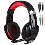 KOTION Each G9000 3.5mm Game Gaming Headphone Headset Earphone Headband with Microphone LED Light for Computer Tablet Mobile Phones PS4 by Senhai- Black/Red (Color: Red-G9000)