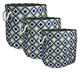 Signature Home 3 Piece Printed Oval Canvas Storage Bins with Rope Handles, Navy Tile