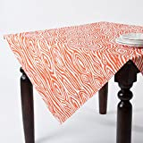 Faux Bois Design Cotton Tablecloth, Made in USA, 56-inch square (tangerine)