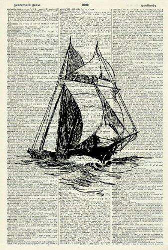 SHIP - Vintage Dictionary Art Print - Wall Hanging 300D