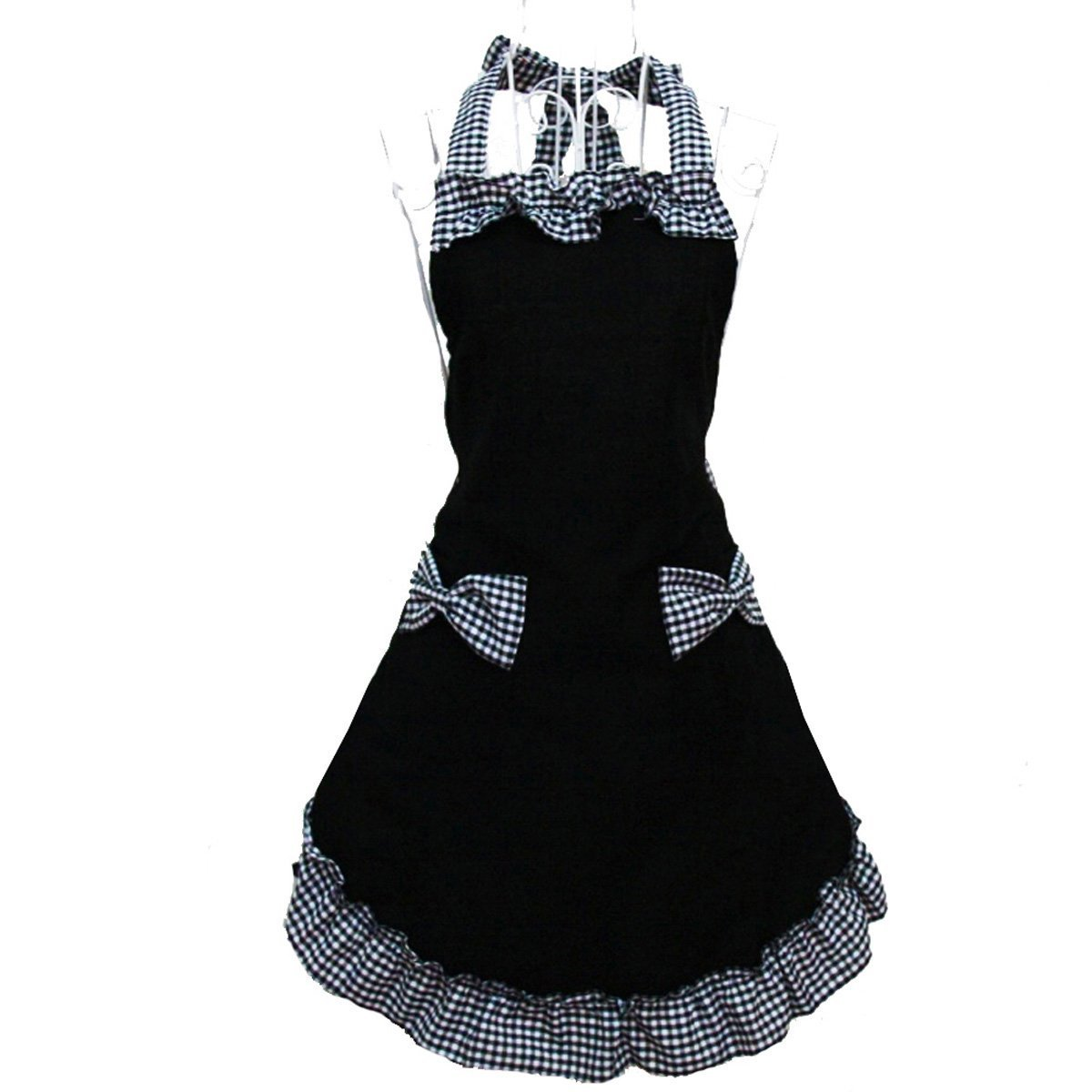 Hyzrz Cute Retro Lovely Vintage Lady's Kitchen Fashion Flirty Women's Aprons with Pockets Black Patterns for Mother's Day Gift 1