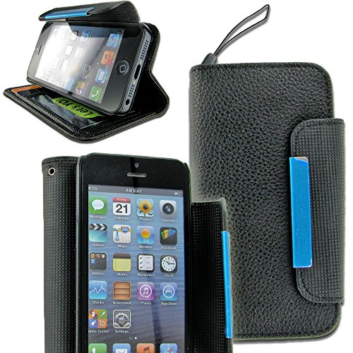 Mylife (Tm) Country Black {Classic Design} Faux Leather (Card, Cash And Id Holder + Magnetic Closing + Hand Strap) Slim Wallet For The Iphone 5C Smartphone By Apple (External Textured Synthetic Leather With Magnetic Clip + Internal Secure Snap In Hard Rub