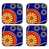 MeSleep Rakhi Wooden Coaster-Set Of 4 - B013LEG6YK