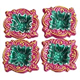 DollsofIndia Set Of Four Hand Painted Dark Pink With Green Designer Diya - Terracotta