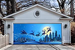 3d garage door covers christmas decorations outdoor wall for Christmas garage door mural