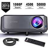 Video Projectors, GuDee Full HD Movie Projector for Home Theater, 4500L Overhead Projector for Business PowerPoint Presentations, Compatible with Laptop, Smartphone, HDMI, USB (Color: Space Gray)