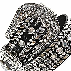 Luxury Divas Black Gorgeous Rhinestone Studded Fancy Belt Size Large