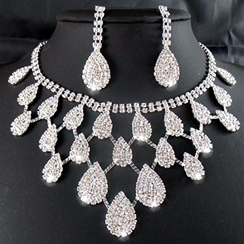 Joylive Rhinestone Crystal Necklaces+earring Bride Jewelry Sets for Bridal Wedding