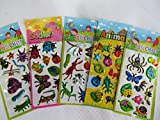 5 x small sheets of dinosaur, T-Rex, Animals, Cars, Insects, Bugs, Fashion Stickers for kids Girls boys, craft, scrap books, card making, gift party bags (5 x insect stickers)