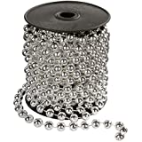 WeRChristmas 6.5 m Pre-Lit Shiny Beaded Garland Tinsel Christmas Tree Decoration on a Reel, Silver