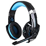 BENGOO G9000 Stereo Gaming Headset for PS4, PC, Xbox One Controller, Noise Cancelling Over Ear Headphones with Mic, LED Light, Bass Surround, Soft Memory Earmuffs for Laptop Mac Nintendo Switch Games (Color: Blue and BLack)