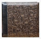 "12""X12"" EMBOSSED SCROLL LEATHERETTE SCRAPBOOK - BLACK Gold - Photo Album"
