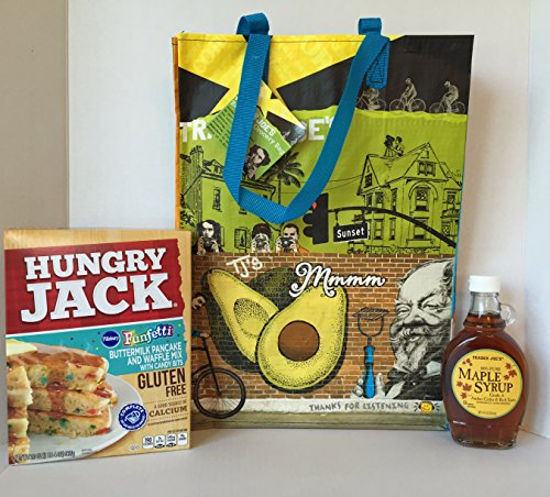 GLUTEN FREE Hungry Jack Funfetti Pancake and Waffle Mix with Candy Bits, Trader Joe's Pure Maple Syrup + A Bonus Free TJ's Southern California Tote Bundle & Coffee Recipe from Z-Organics (4 Items) (Zebra Cake Mix compare prices)
