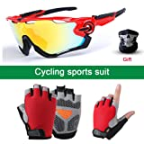 SENSHELN Cycling Bike Glasses and Gloves Set Polarized Sports Sunglasses with 4 Interchangeable Lens Foam Pad Shockproof Breathable Anti-Slip Outdoor Sports Workout Gloves (Red, Gloves Medium) (Color: Red, Tamaño: Gloves Medium)