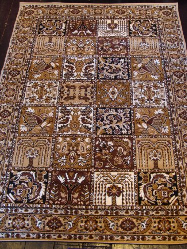 NEW TRADITIONAL EXTRA LARGE BEIGE/BROWN/CREAM PANEL RUG 240 X 330CM